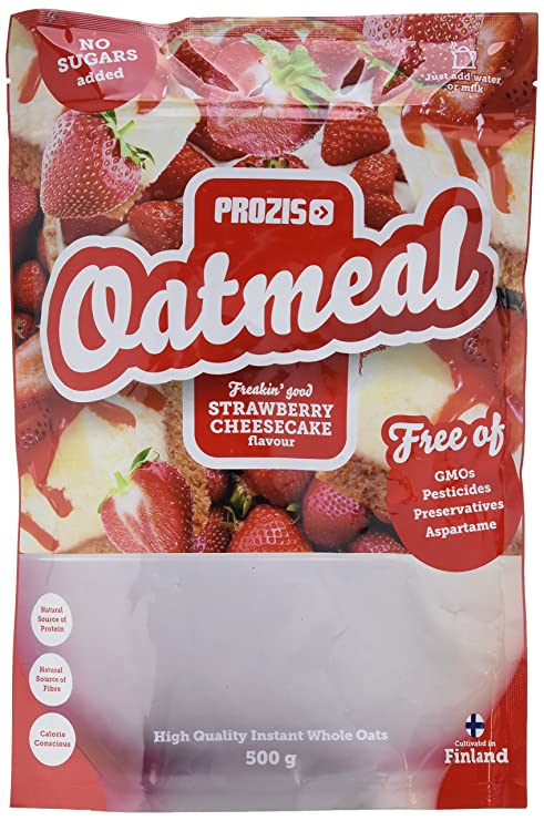 Prozis Oatmeal, Tarta de Queso con Fresas - 500 gr