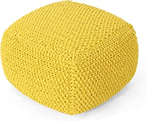 Christopher Knight Home Lucy Knitted Cotton Square Pouf, Yellow