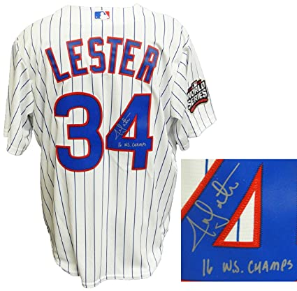 9da4461ff Image Unavailable. Image not available for. Color  Jon Lester Signed  Chicago Cubs White Pinstripe 2016 World Series Patch Majestic Jersey ...