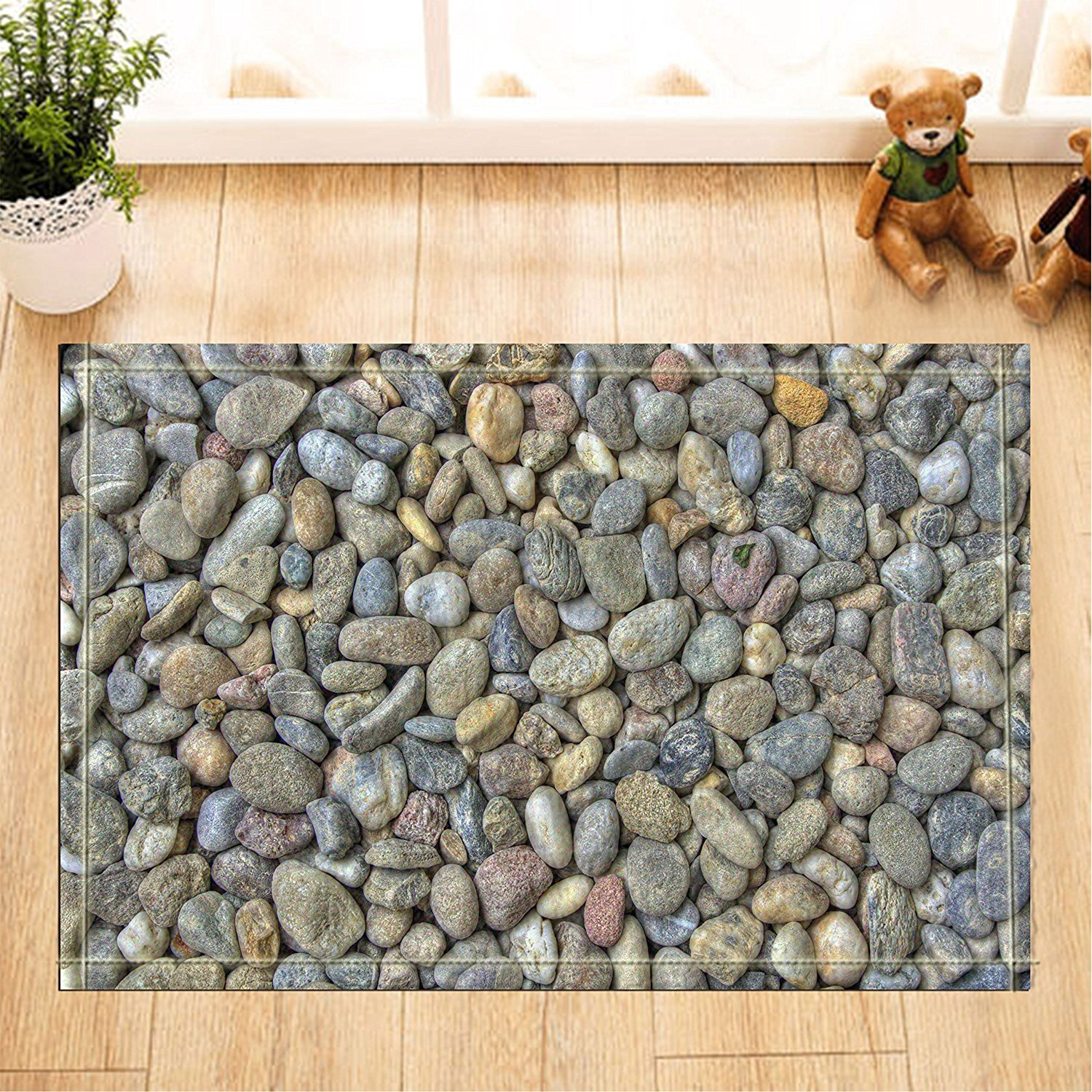 Amazon Abstract Decor Nature River Bed Pebbles Stone Bath Rugs