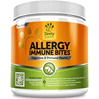 Allergy Immune Supplement for Dogs - With Omega 3 Wild Alaskan Salmon Fish Oil & EpiCor + Digestive Prebiotics & Probiotics - Seasonal Allergies + Anti Itch & Hot Spots Skin Support - 90 Chew Treats