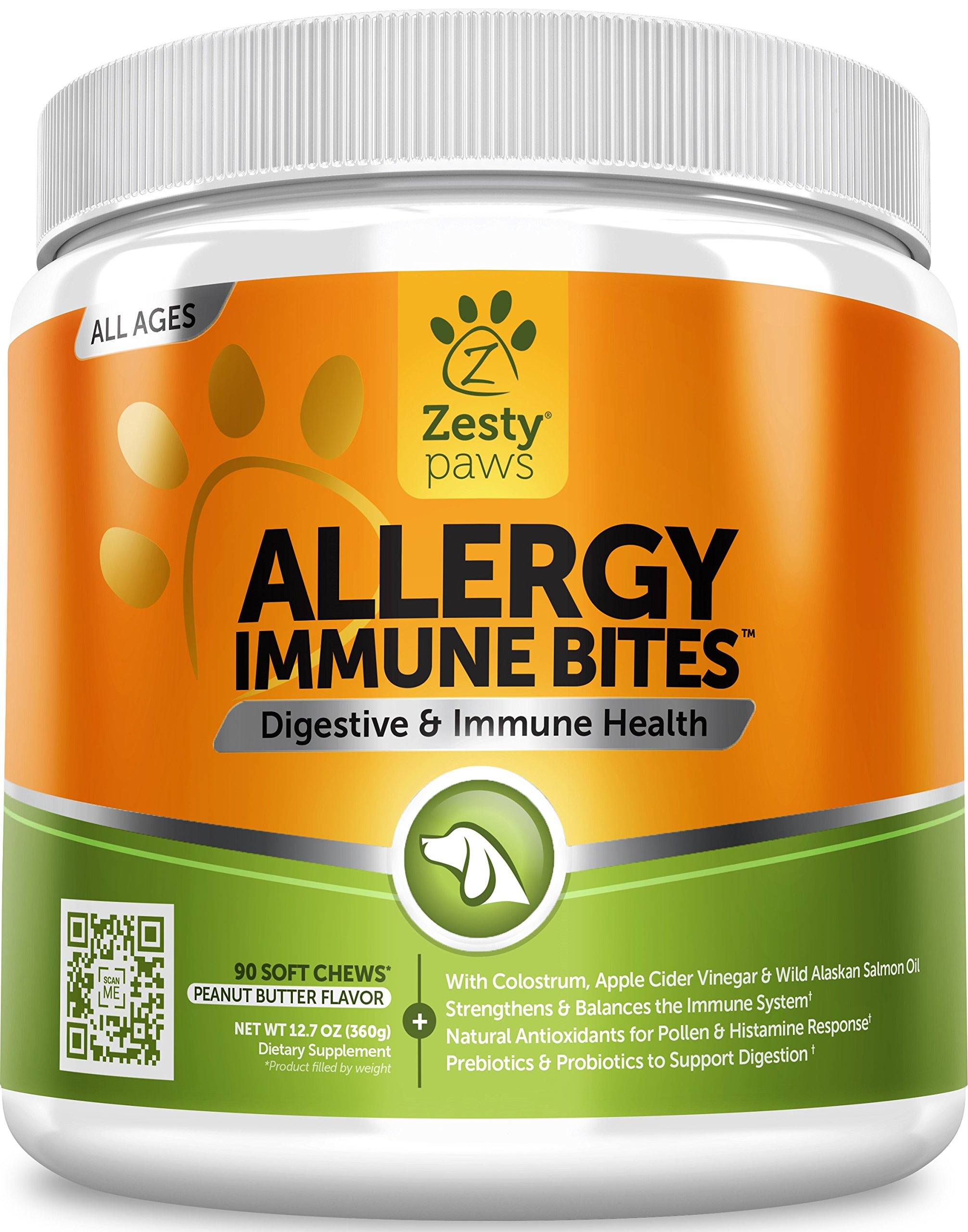 Allergy Immune Supplement for Dogs - With Omega 3 Wild Alaskan Salmon Fish Oil & EpiCor + Prebiotics & Probiotics - Anti Itch & Skin Hot Spots + Seasonal Allergies - Peanut Butter Flavor - 90 Chews