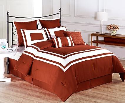 Amazoncom Cozy Beddings Lux Decor Collection 8 Piece White Stripe