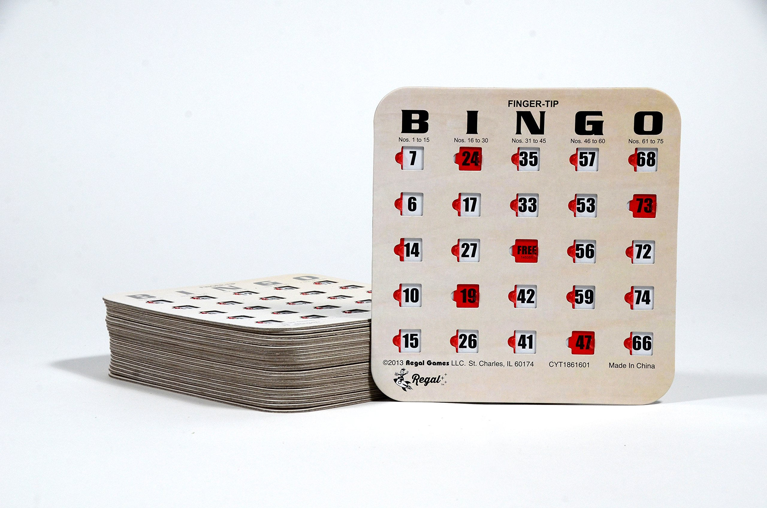 Regal Games 25 Woodgrain/Tan Fingertip Shutter Slide Bingo Cards by Regal Games (Image #2)