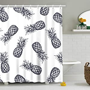 Stacy Fay Pineapple Shower Curtain, Summer Fruit Fabric Bathroom Curtains Set with Hooks Ananas Bathroom Decor Machine Washable 72x72 Inches