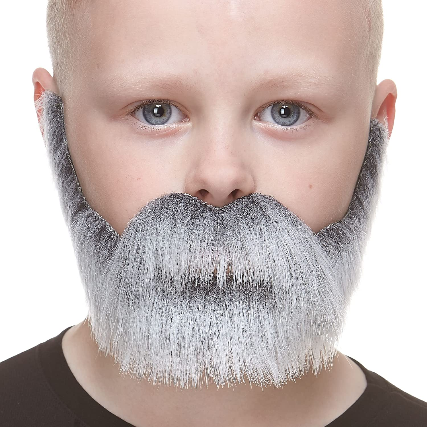 Mustaches Fake Beard, Self Adhesive, Small Nobleman False Facial Hair for Kids, Salt and Pepper Color