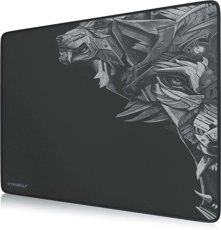 TITANWOLF - XL Alfombrilla para ratón 440 x 350 mm - Speed Gaming Mousepad - Mouse Pad para Ordenador - Base para Mesa Grandes Dimensiones - Diseño: ETA