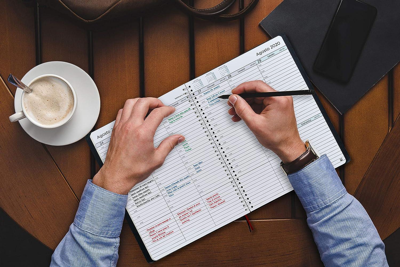 Intervalos de 30 minutos Diario Espiral que Inspira Productividad Tapa Blanda Calendario Semanal A5 Agenda 2020 con Vista Semanal Planificador 2020 Semana Vista en Espa/ñol
