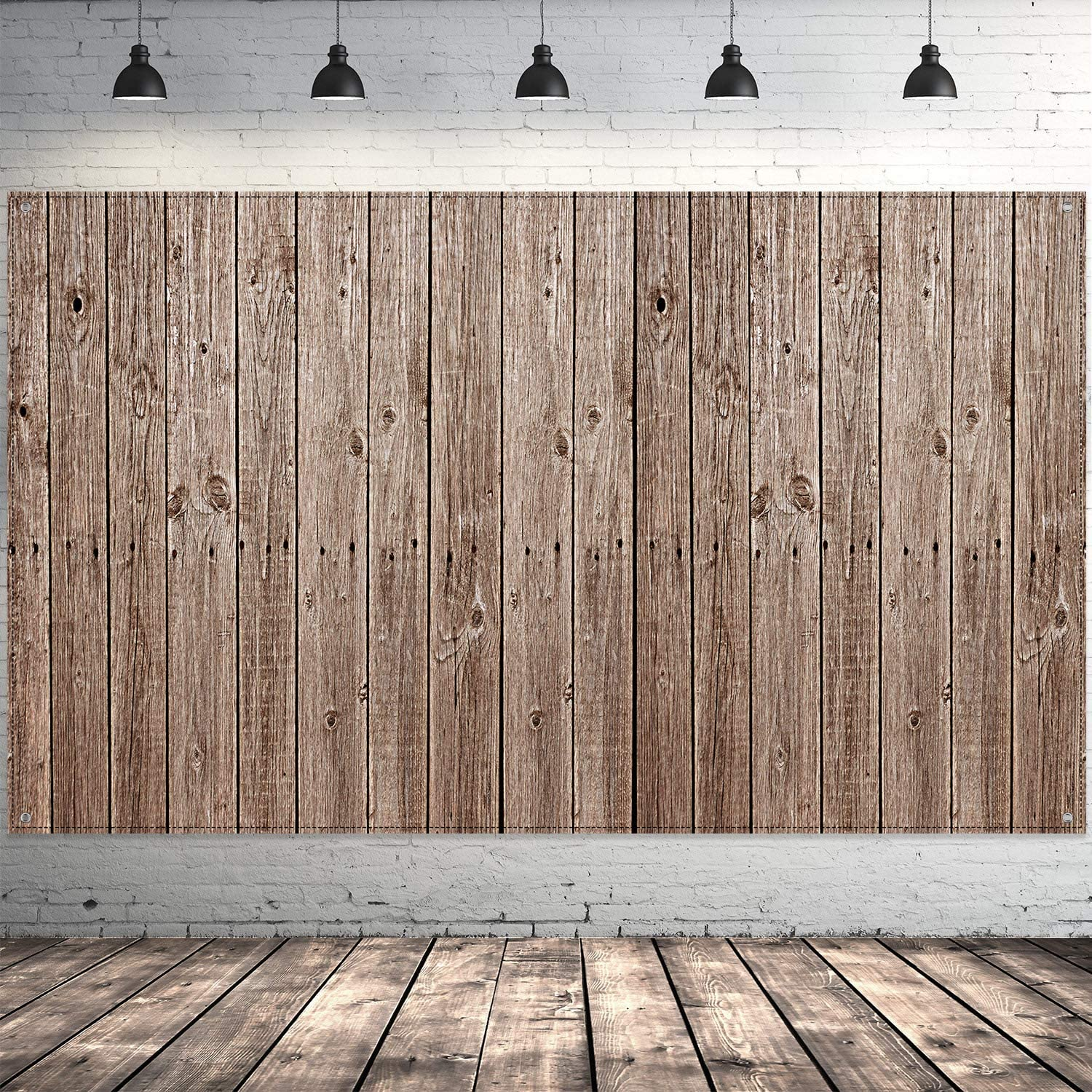 Barn Party Backdrop Decorations, Extra Large Rustic Wood Sign Barn Siding Backdrop Wood Photo Booth Wood Background for Barnyard Party Supplies, 72.8 x 43.3 Inch