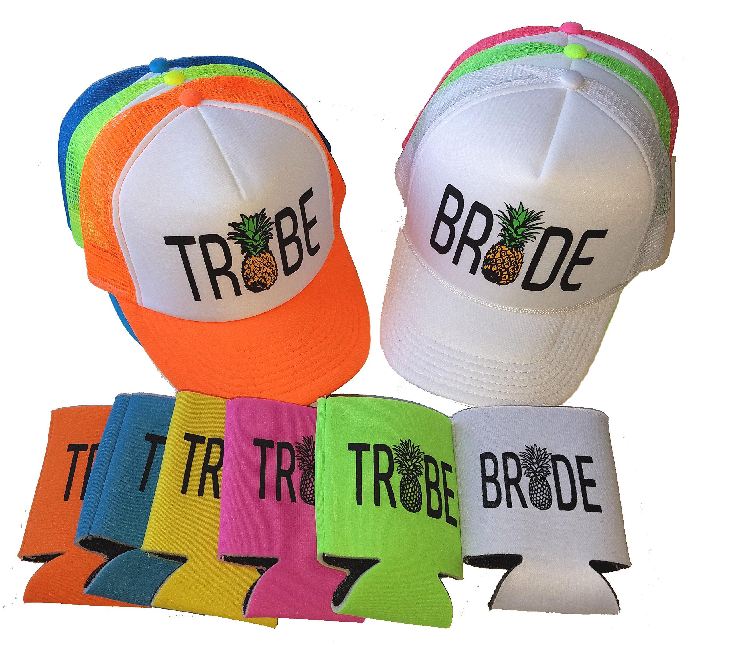 Bride Tribe Pineapple Set Snapback Mesh Trucker Hat Cap Team Bride Bachelorette Can Cover