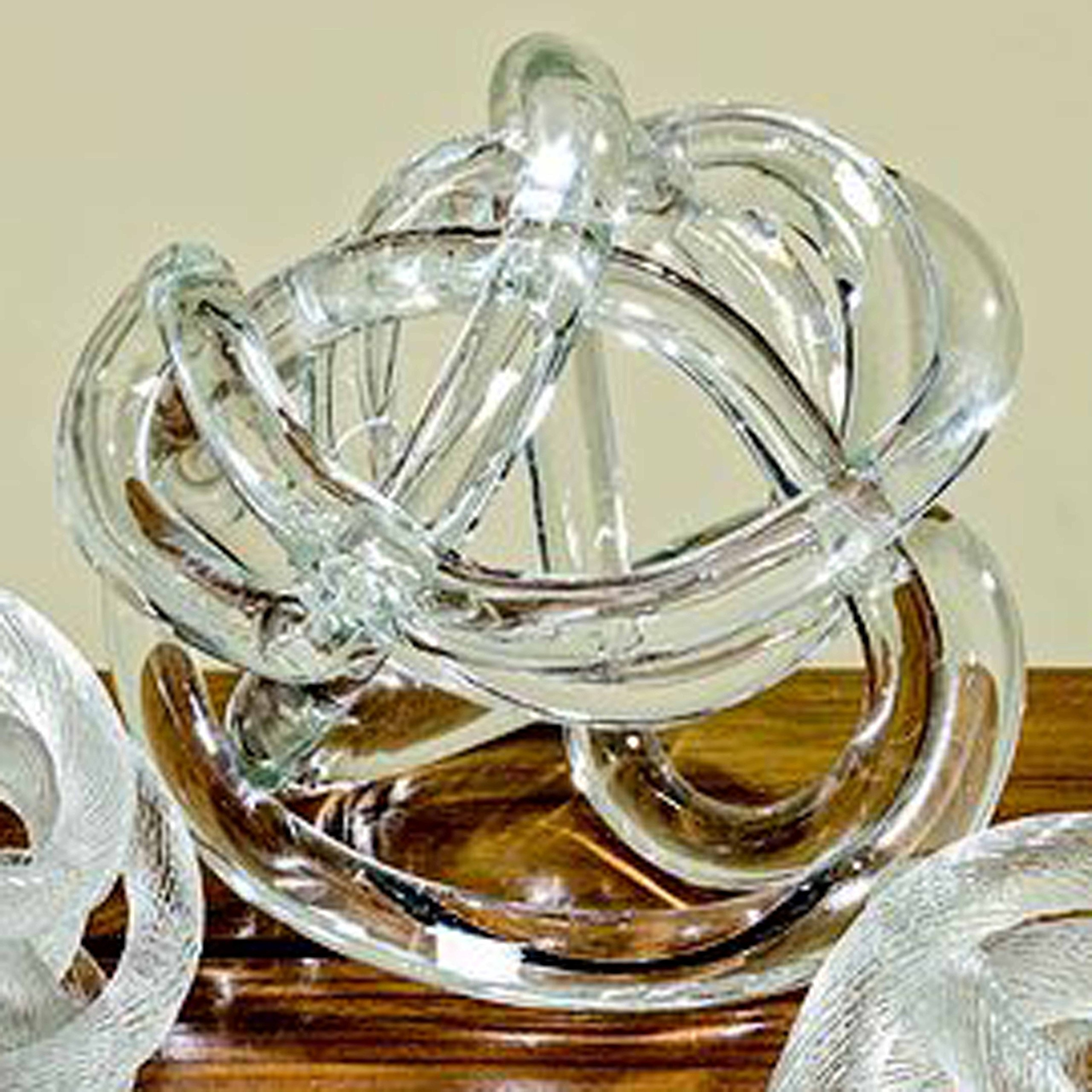 Whole House Worlds The Infinity Knot, Art Glass, Table Top Sculpture, Clear, Artisan Crafted, Hand Blown, 6 1/4 Inches, By WHW