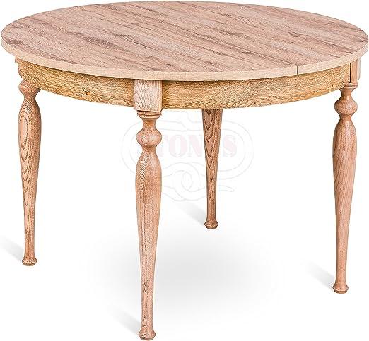 Mesa extensible redonda de madera shabby chic salón cocina comedor ...