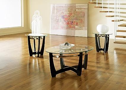 Amazon.com: Steve Silver Company Matinee Glass Table Set, 3 Pack ...