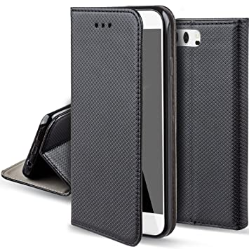 half off 3b9d0 8f18a Moozy case Flip cover for Huawei P10, Black - Smart Magnetic Flip case with  folding stand
