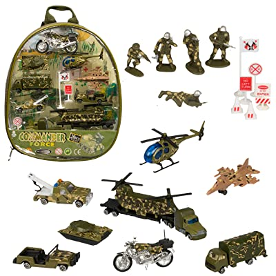 Military Backpack Vehicle Set - 20 Piece Playset Army Tanks, Helicopters, Motorcycle, Armored Cars, Tow Trucks Soldiers, Signs & Backpack: Toys & Games