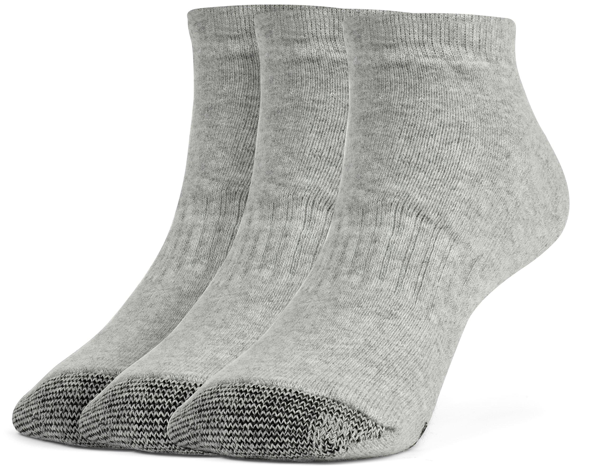 Galiva Boys' Cotton Extra Soft Low Cut Cushion Socks - 3 Pairs, Small, Grey
