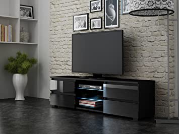 tv stand fourdraw with led light glass shelves and drawers for up to uquot