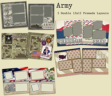 Amazon Army Scrapbook Set 5 Double Page Layouts