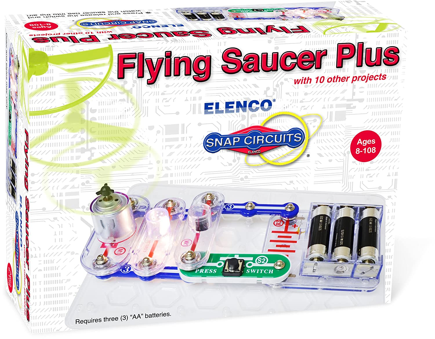 Elenco Electronics Flying Saucer Plus Mini Kit Toys Games Scg125 Snap Circuits Green Alternative Energy Learning