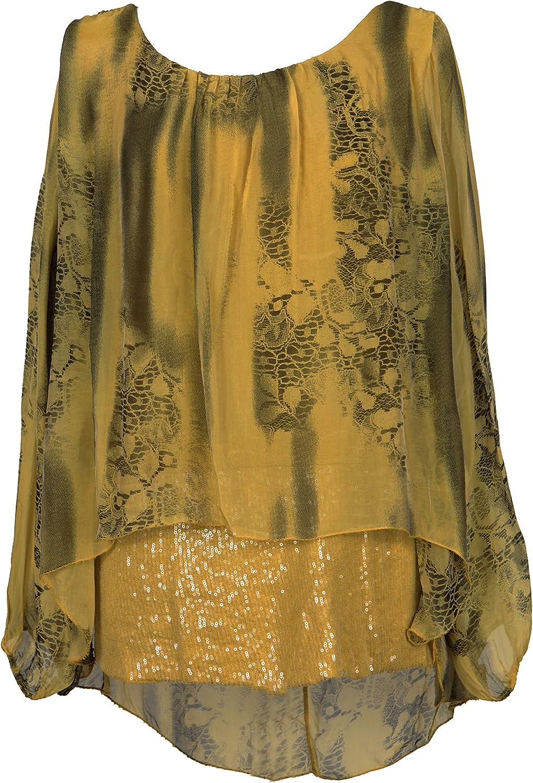 Italian Lageenlook Plus Size Ladies Baggy Sleeves Stars Print Tunic Top Shirt