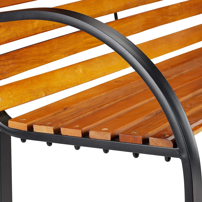 Balcone Relaxdays terrazza parcheggio 82 x 122 x 60 cm Telaio in Metallo Colore Naturale Panchina da Giardino per Esterni Stecche in Legno