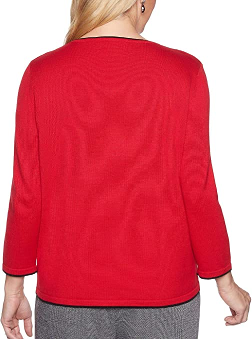 Alfred Dunner Womens Applique Novelty Floral Sweater with Notch V Neck