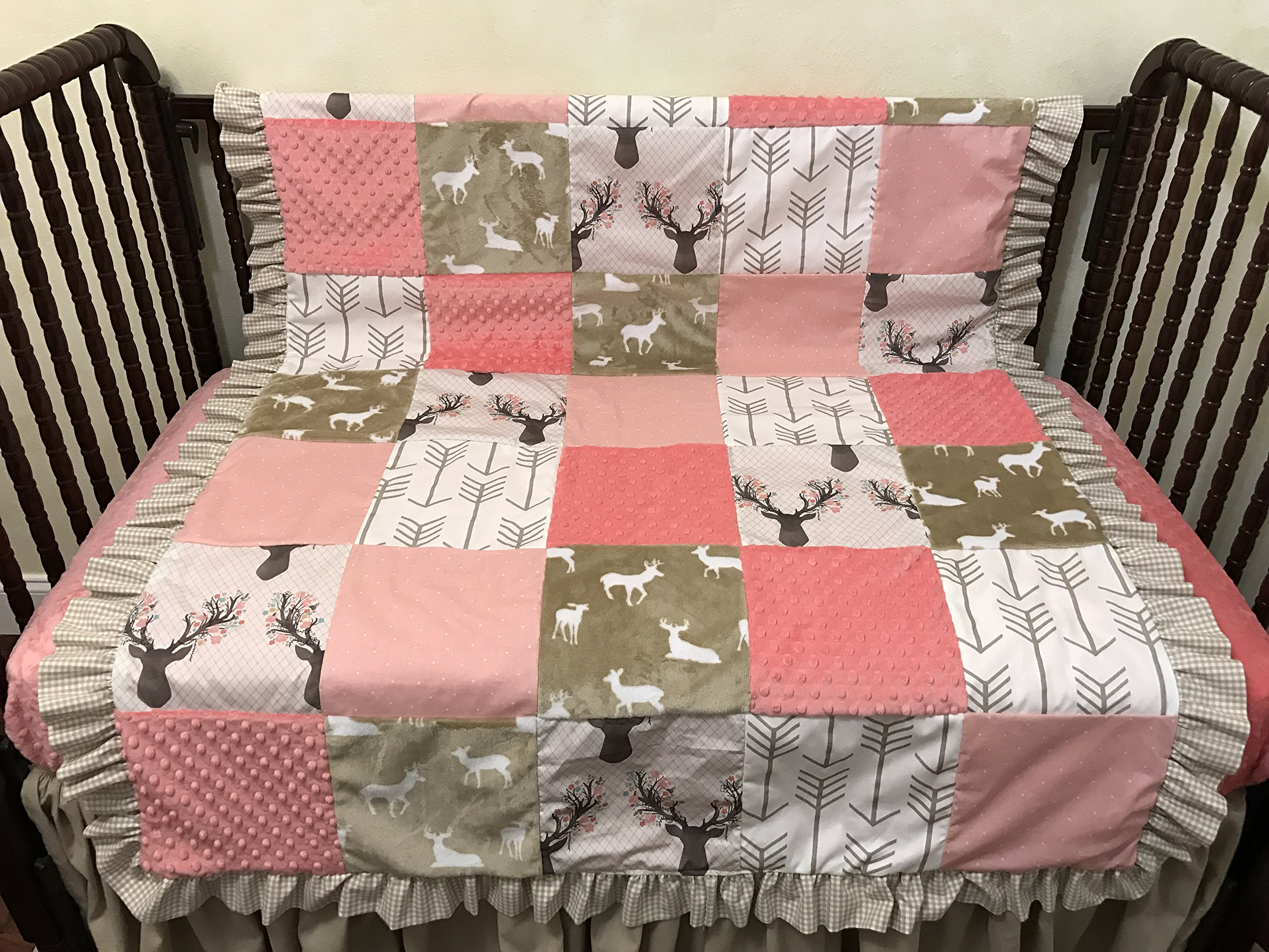 Toddler/Crib Size Blanket, Patchwork Baby Blanket in Coral and Tan with Deer, Arrows, and Dots