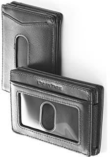 905f3209599 Compact RFID Card Sleeve Wallet Premium Leather Money Clip Card Holder for  Up to 10 Cards