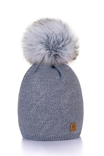 Mujer Sombrero De Invierno Cristales Beanie Hat Gran Pom Pom Gorro De Invierno Cálido Forro Polar Mf...