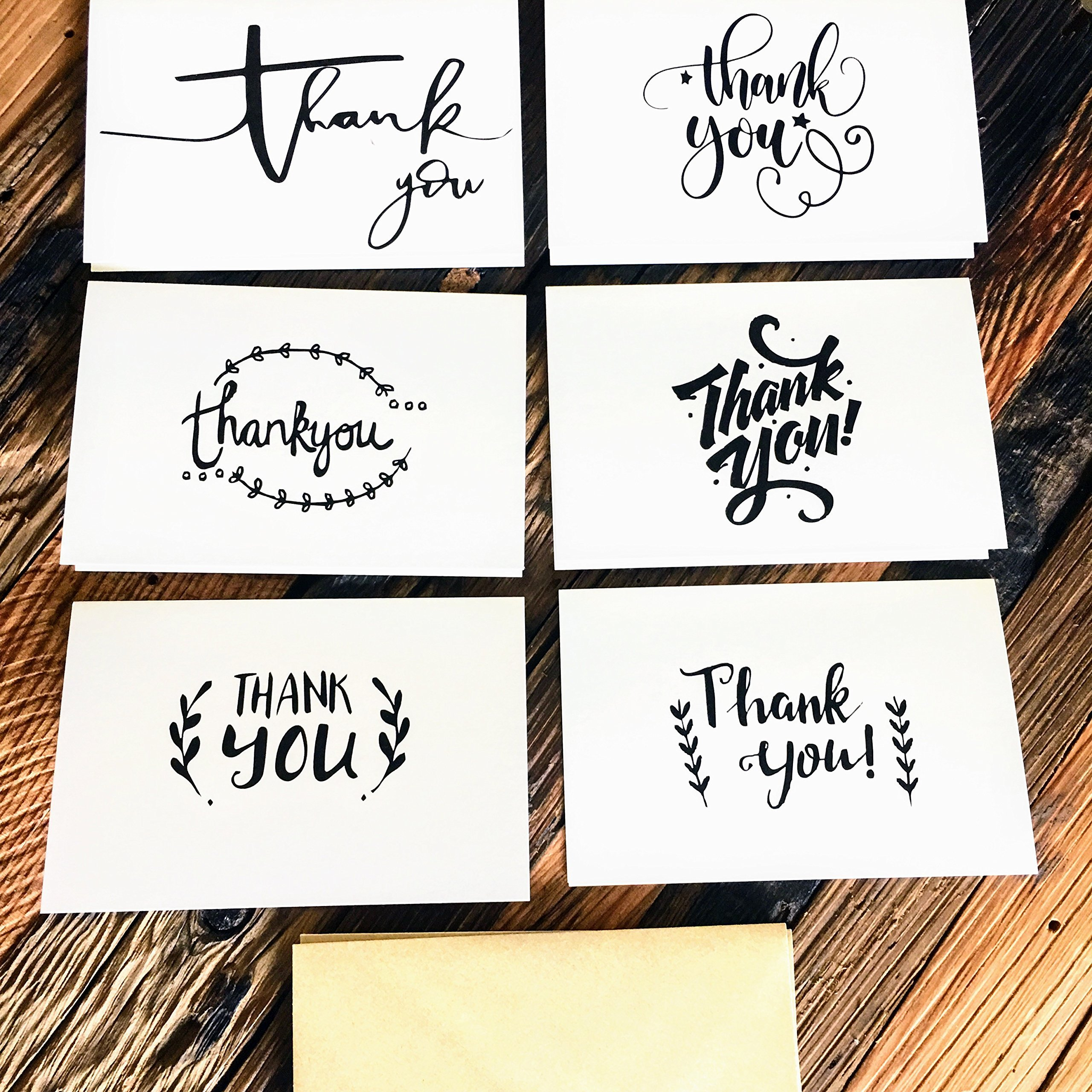Thank You Cards with Glue Envelopes 36-Count, Kraft Paper Envelopes - Blank on The Inside, Handwritten Style - 4 x 6 Inches - Great for Business, Wedding, Graduation, Baby/Bridal Shower, Professional by SJ Products (Image #4)