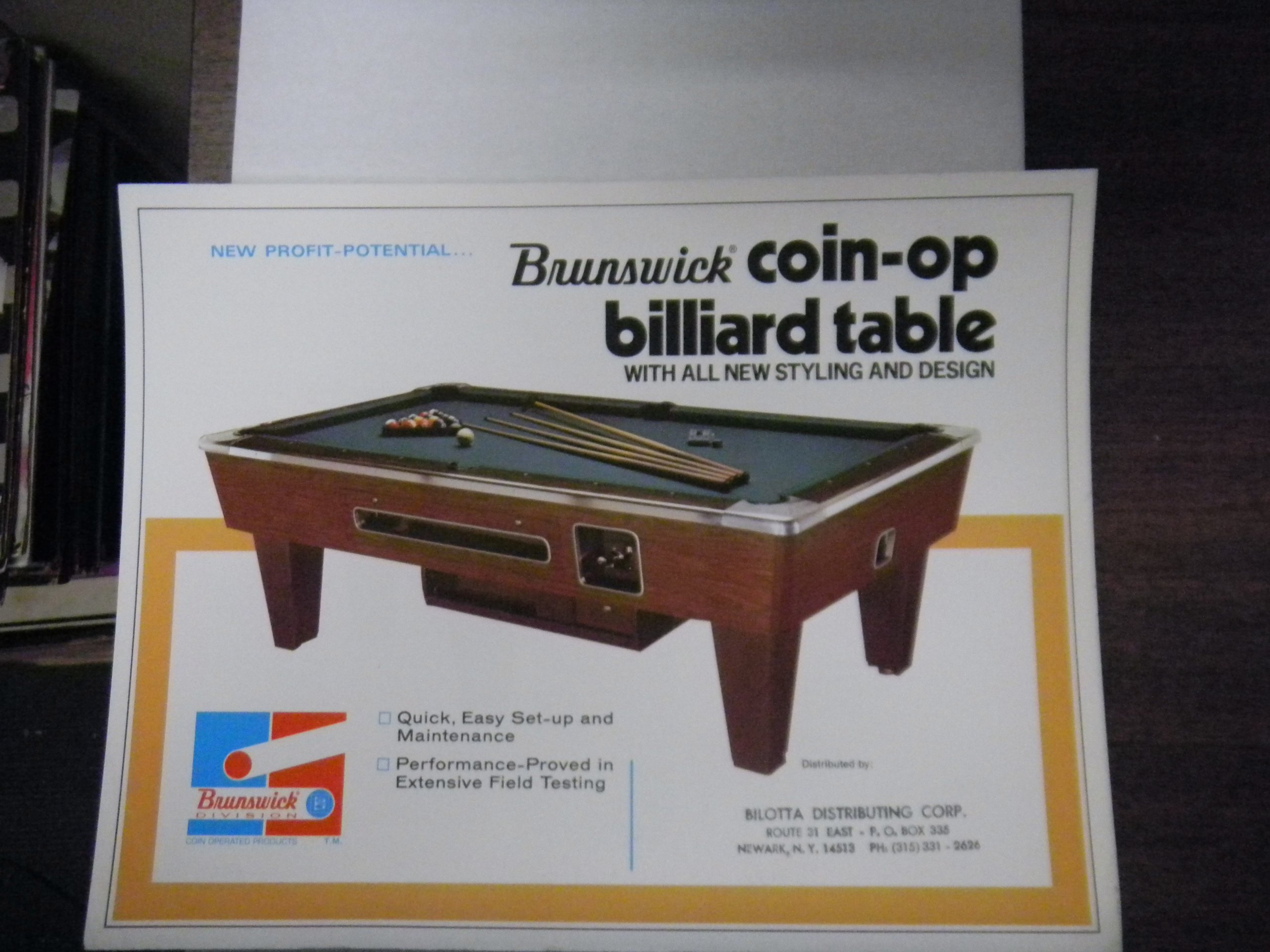 Vintage Brunswick Coin-op Pool Table 8x10 Advertising Sheet