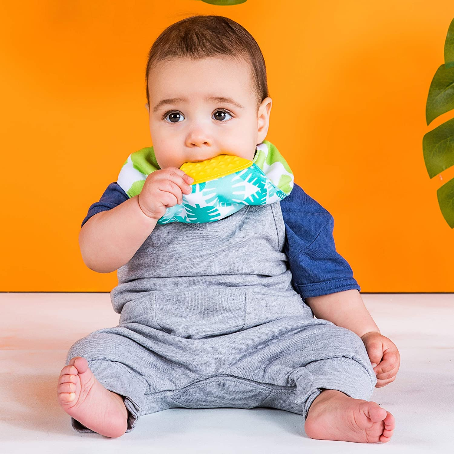 3 Months Bright Starts Drool /& Teethe Bandana Reversible Teether Bib