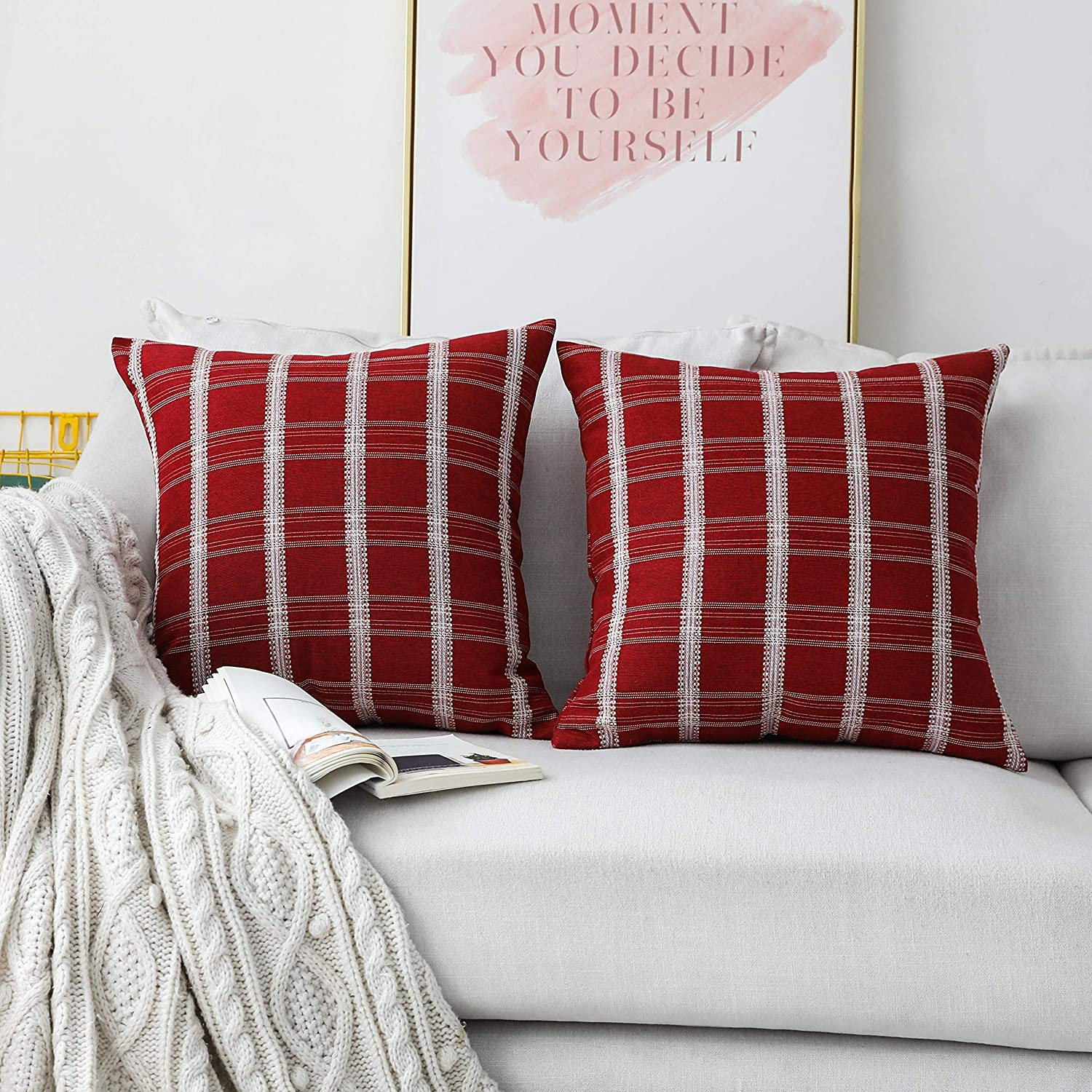 Home Brilliant Red Pillow Shams Large Bed Decorations Plaid Square Throw Pillow Covers for Couch Floor Woman Wedding Party, Pack of 2, 24 x 24 inches(60 x 60 cm), Red Burgundy