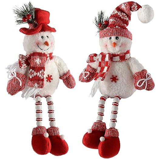 WeRChristmas Sitting Snowmen with Button Legs Christmas ...
