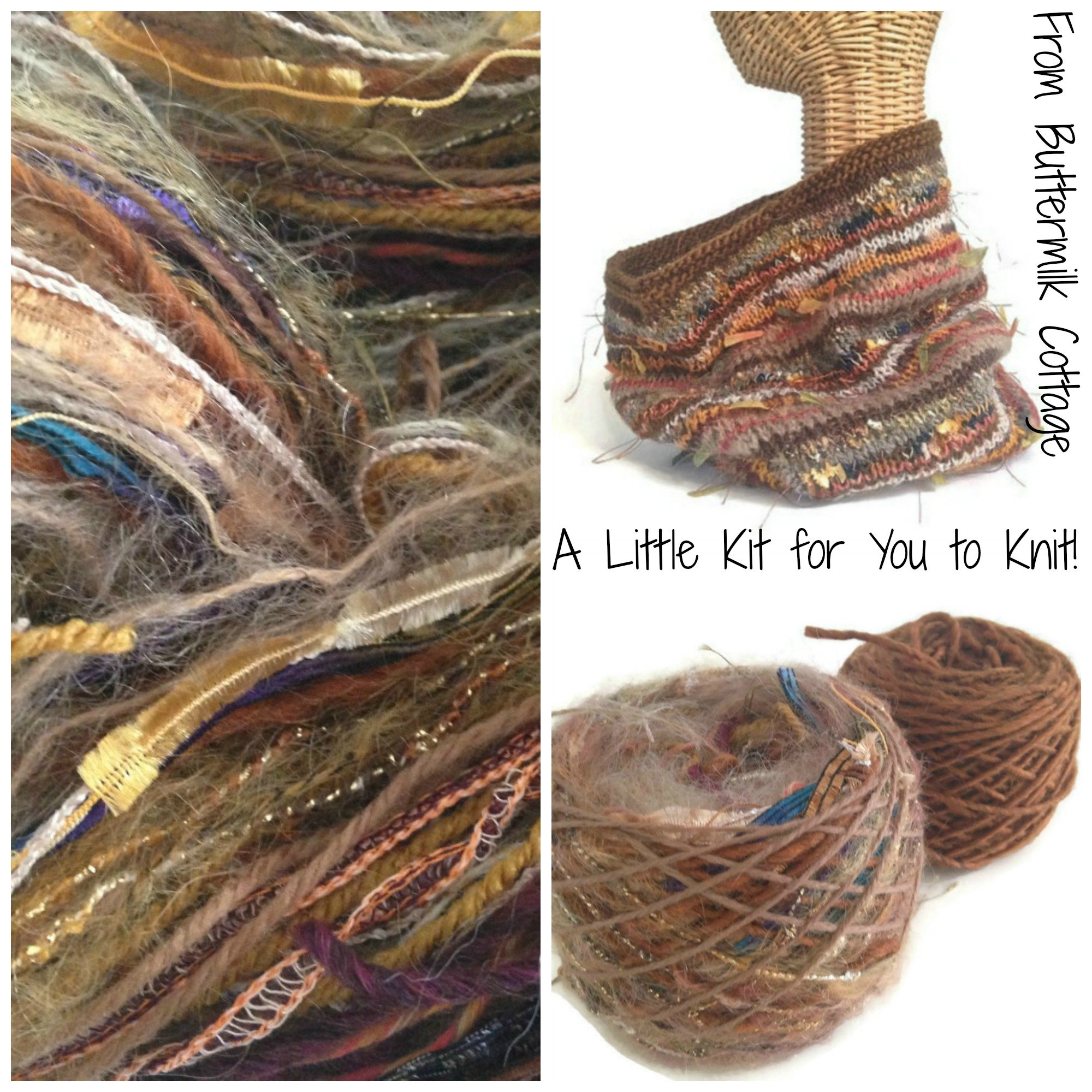 Boutique Yarn Cowl Knitting Kit Brown