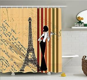 "Ambesonne Paris Shower Curtain, Grunge Background Classical Glamor Woman with Cigarette Fashion Pattern Retro Art, Cloth Fabric Bathroom Decor Set with Hooks, 75"" Long, Orange Green"