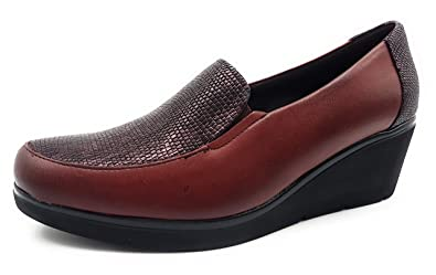 PITILLOS 1221 Mocasin CUÑA Mujer Burdeos 41: Amazon.es: Zapatos y complementos