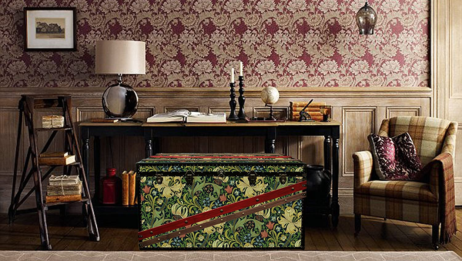 Luxury Morris Wallpaper Coffee Table Steamer Trunk Exclusive Furniture Toy Hope Chest Storage Bench Exclusive Home Decor Morris Glin Amazon Co Uk Handmade