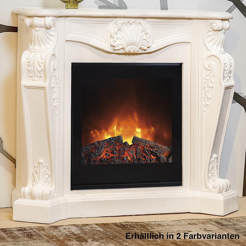 Rubyfires Elektrokamin Kaminfeuer Kaminumbau Kamin Louis inkl Top Flame TF1570G creme weiß