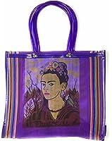 Frida Kahlo Tote Bag, Grocery Shopping Bag, Mexican Grocery Bag, Mexican Folk Art, 100% Recycled from Plastic Bottles, Eco-Friendly Bag, Large Grocery Bag, Bolsas, Mandado (PURPLE)