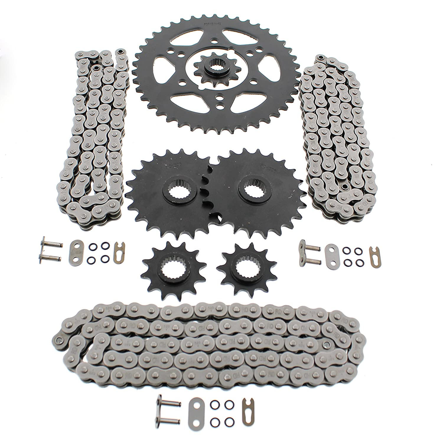1990-1993 Polaris 250 Trail Boss 4x4 O Ring Chains /& Complete Sprocket Set