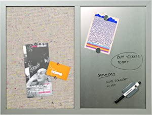 "MasterVision Combination Board, 18"" x 24"", Dry Erase Magnetic Board & Grey Fabric Bulletin Board Combo, Grey MDF Frame"