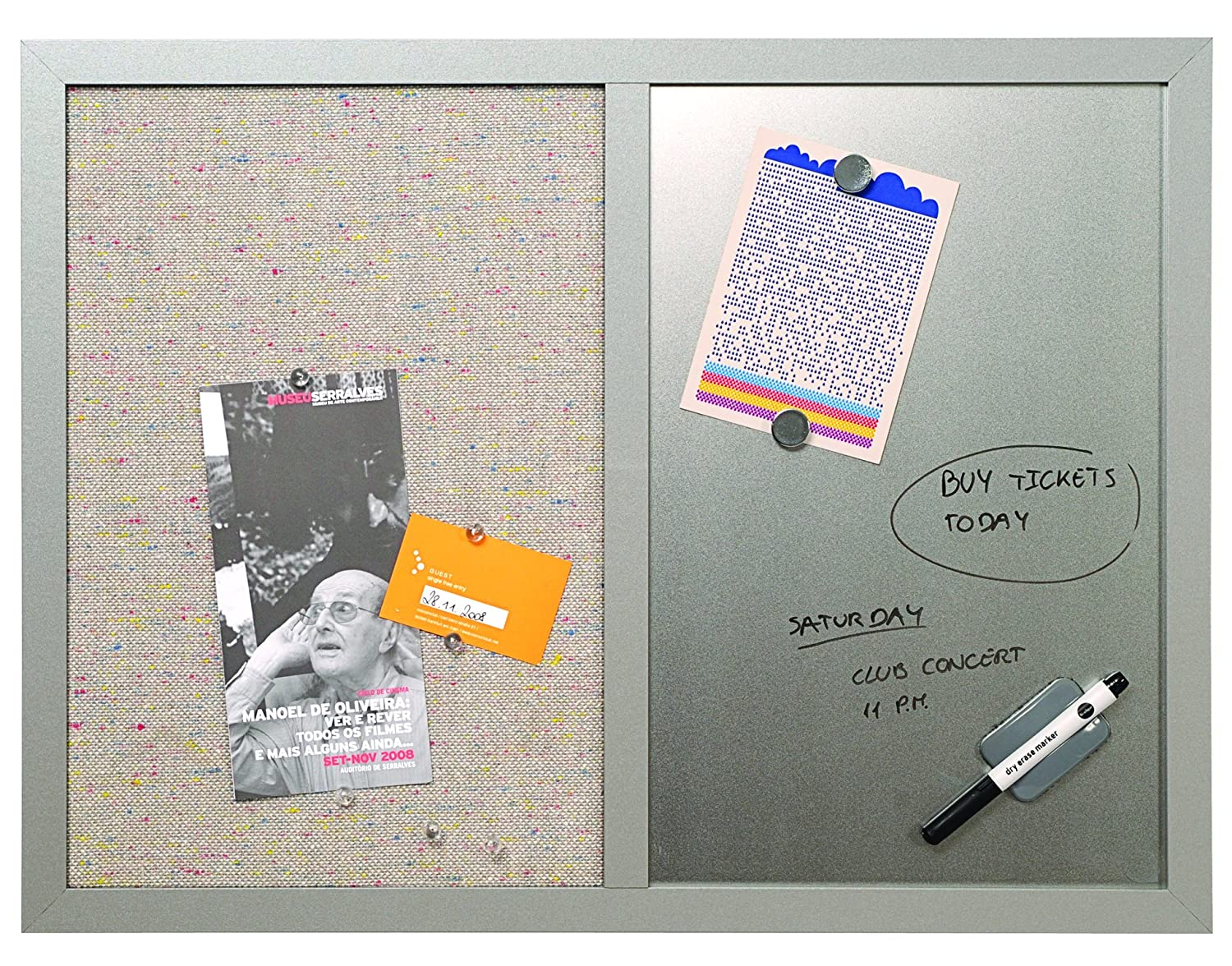 MasterVision 18 x 24 Inches Fabric Bulletin Board Black Frame ...