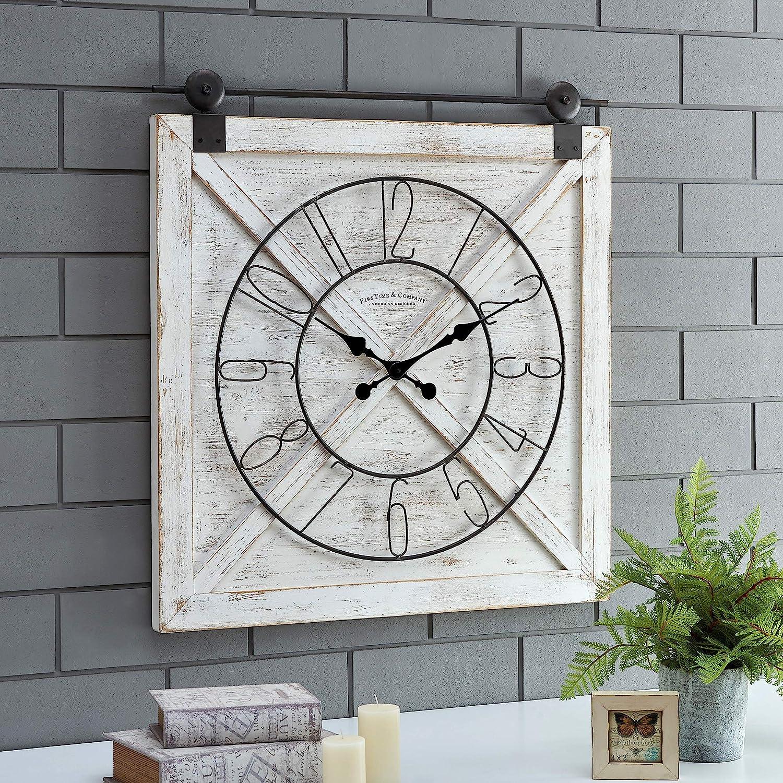 Amazon Com Firstime Co Farmstead Barn Door Wall Clock 29 H X 27 W Whitewash Metallic Gray Black Furniture Decor