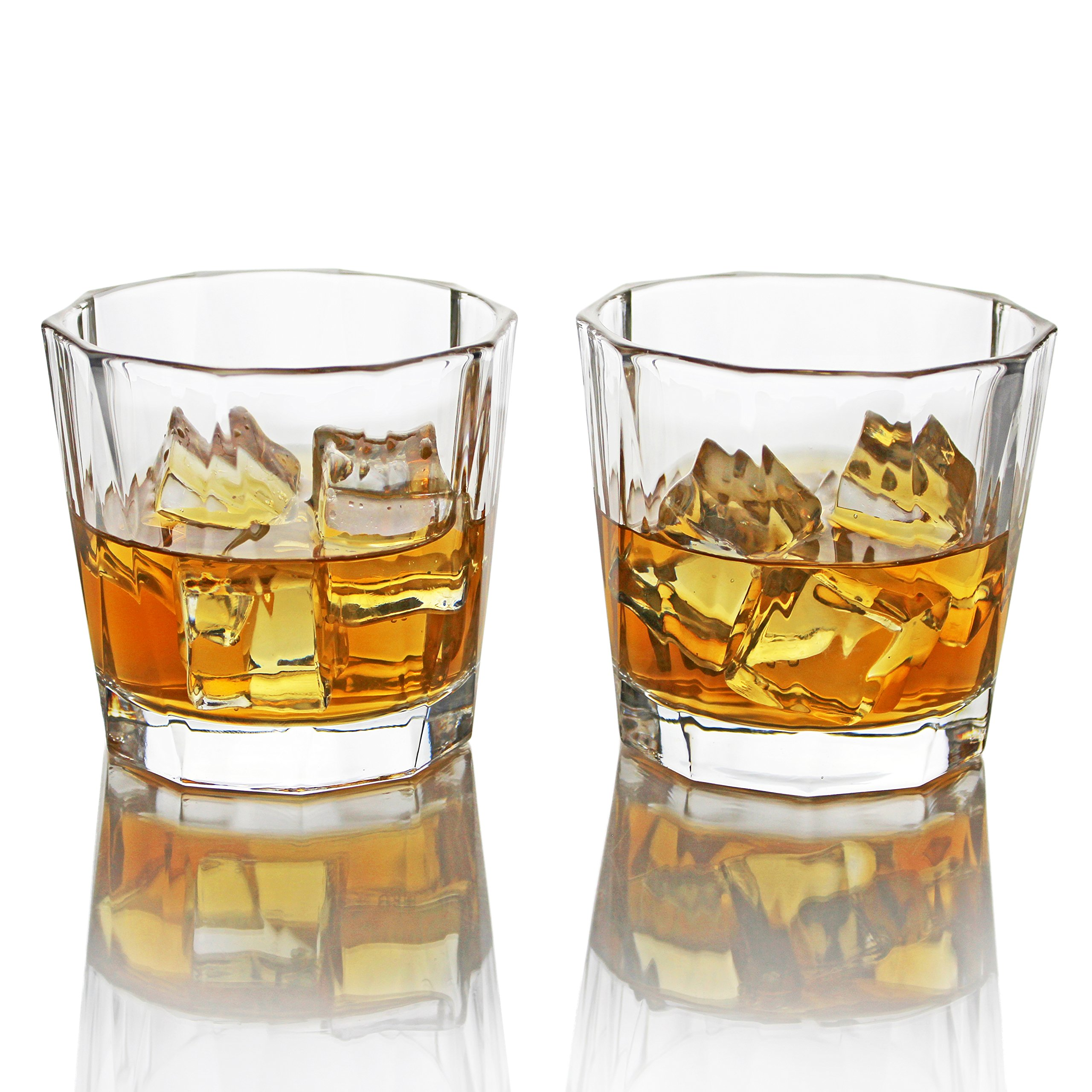 Summit One Old Fashioned Whiskey Drinking Glasses 10 Ounce, Set Of 4 Lead-Free Drink Tumblers For Scotch, Bourbon or Cocktails With Heavy Base & Wide Mouth