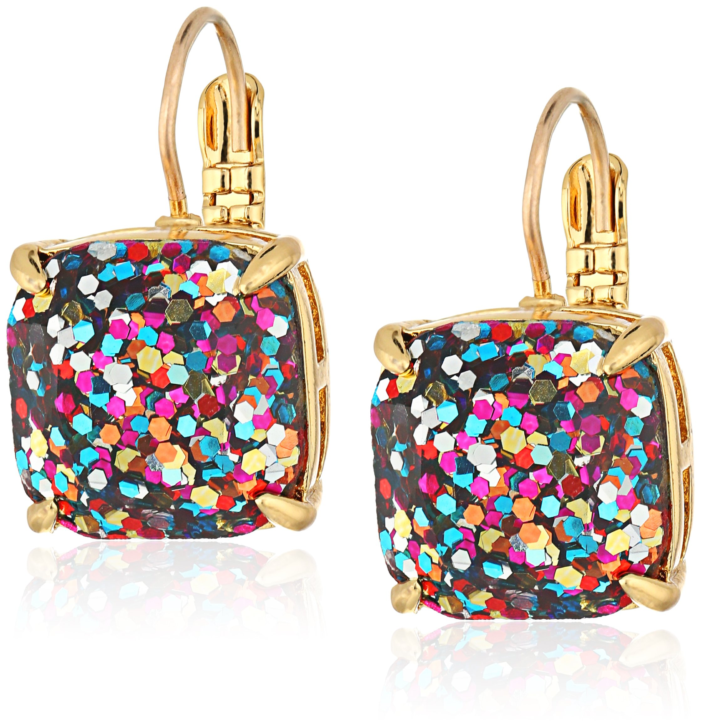 kate spade new york Small Square Leverback Multi-Glitter Drop Earrings