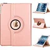 E LV iPad 9.7 (2017) Case Cover Full Body Protection PU LEATHER for iPad 9.7 (2017) with 1 Stylus - (Only compatible with iPad 5 and iPad 9.7 (2017)) - ROSE GOLD