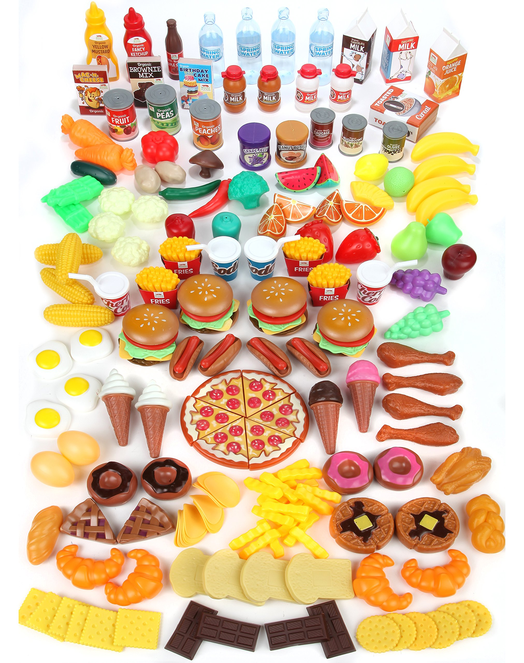 Mommy Please Play Food Set for Kids - Huge 202 Piece Pretend Food Toys is Perfect for Kitchen Sets and Play Food Kitchen Toys - Inspire Your Toddlers Imagination + 4 Bonus Water Bottles