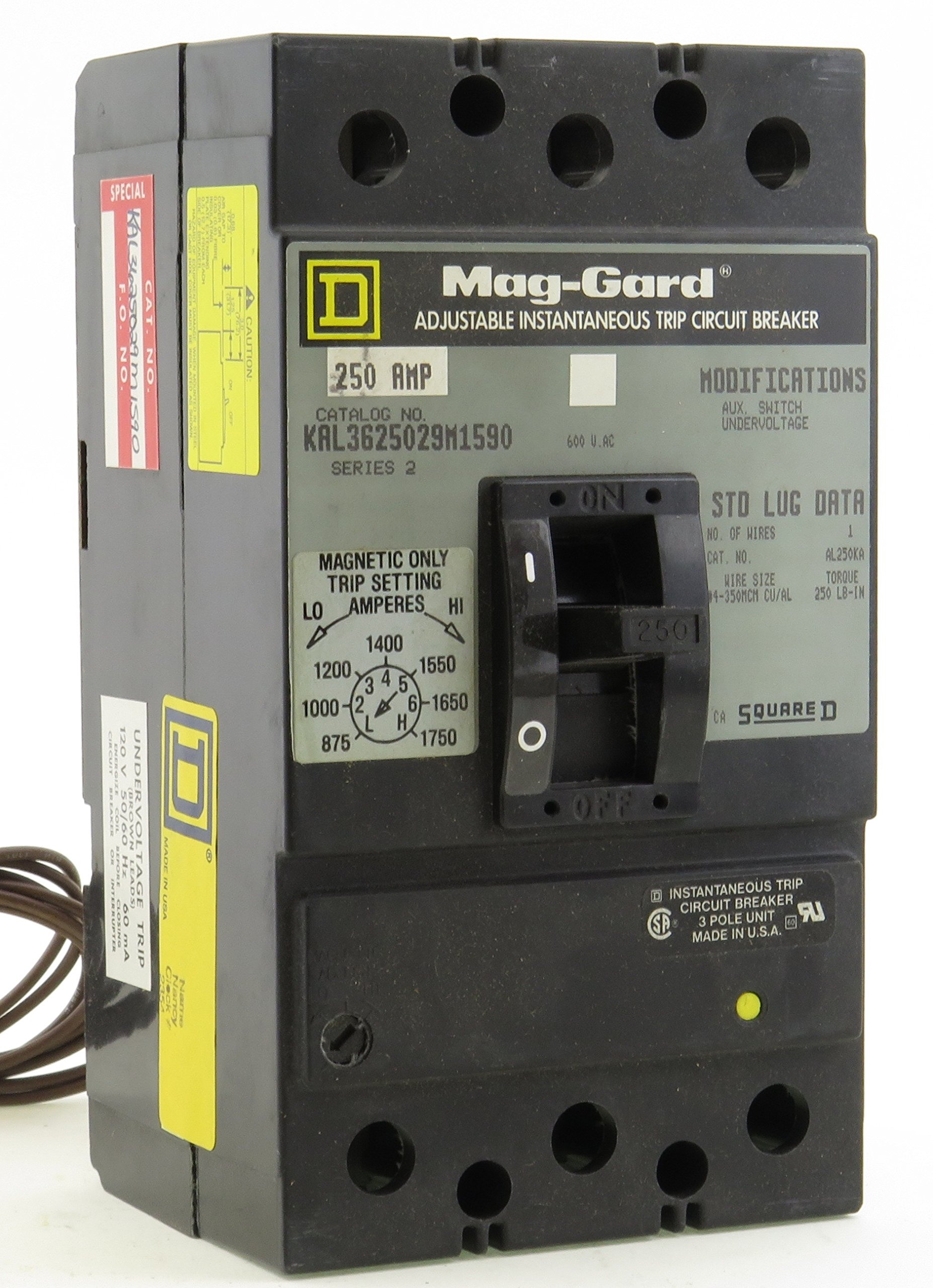 KAL3625029M1590 3P 250A 600V Trip Setting 875 To 1750 Amp ADJUSTABLE INSTANTANEOUS TRIP CIRCUIT BREAKER