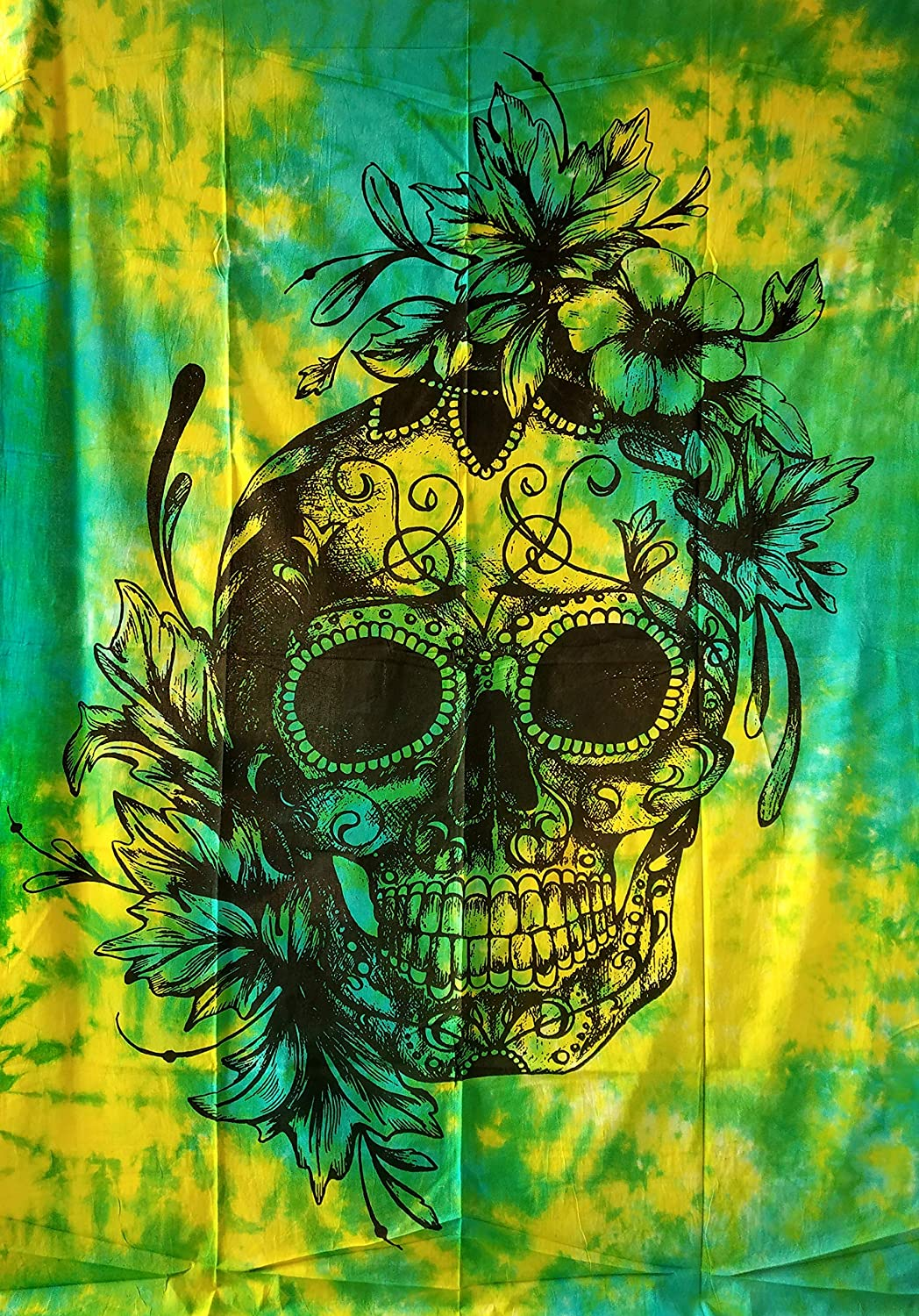 Indian Craft Castle ICC Black and White Skull Tapestry Sugar Grateful Dead Tapestry Human Skeleton Wall Decor Hippie Green